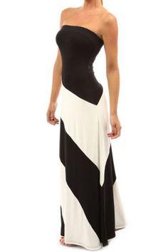 Stylish Strapless Sleeveless Striped Slimming Women's Dress Maxi Dresses | RoseGal.com Mobile