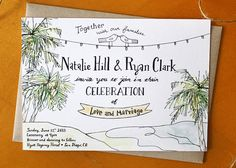 Palm Wedding Invitation Tropical Destination By Mavora On Etsy 15 00 Beach Pinterest Weddings And Purple