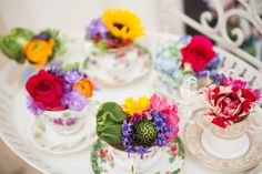 Flower Design Events: Mad Hatters Tea Party Wedding Flowers in Vivid Colours,