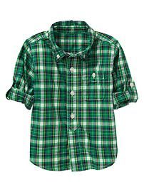 Convertible small plaid shirt