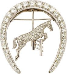 Estate Jewelry:Brooches - Pins, Diamond, Platinum, White Gold Brooch