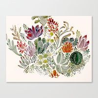 Canvas Prints featuring Succulents  by Hannah Margaret Illustrations