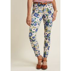 Exuberant Intrigue Pants in Muted Bouquet (235 QAR) ❤ liked on Polyvore featuring pants, straight leg pants, floral printed pants, studded pants, straight leg trousers and floral-print pants