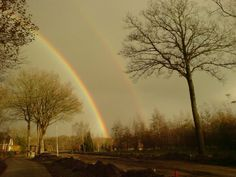 Two rainbows - love the effect of light under the left rainbow
