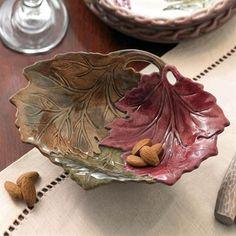 Autumnal Three Leaf Ceramic Snack Bowl