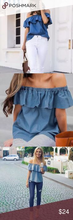 Denim off the shoulder top ✨ 📬 Ship same day/next day  🔐 Price is firm unless bundled  📍 Serious inquires only   ▪️ Fits true to size Tops Tees - Short Sleeve