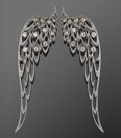 Edwardian Platinum and Diamond Wing Brooches, circa 1900