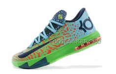 check out 2439a 1be9a Discount Nike Zoom KD Vi Mens Orange Dot Green Blue