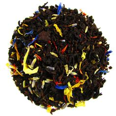 Cosmopolitan – Full Leaf Tea Company  Black tea blended with cornflowers, marigolds, safflowers, lavender and  infused with citrus flavor. Bursts of color and texture in this beautiful full leaf blend  Country of Origin: India