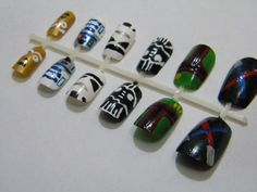 Star Wars Press On Nails. $22.00, via Etsy. @Olympia Maxenchs Maxenchs - dood you should so do this and charge people!!