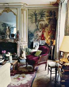 Gogo Schiaparelli's Egyptian-and-Chinese-accented apartment, in Paris, which Halard shot in 1992, echoes the memory of her mother, fashion icon Elsa, and her grandfather, an Egyptologist, among other influences.