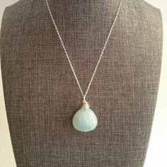 Genuine Aquamarine Wire Wrapped Pendant Necklace Sterling Silver 21x21mm Perfect Mother's Day Gift by Mckenziepartyof5 on Etsy
