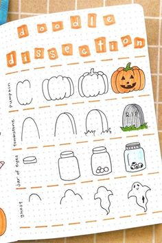 Best Bullet Journal Doodle Ideas For Halloween & Fall 2020 - Crazy Laura - - Starting your fall theme and need some deocration ideas? Check out these Fall and Halloween step by step bullet journal doodle tutorials for inspiration! Bullet Journal Writing, Bullet Journal Layout, Bullet Journal Ideas Pages, Bullet Journal Inspiration, Doodle Inspiration, Bullet Journals, Halloween Doodle, Fall Halloween, Halloween Drawings