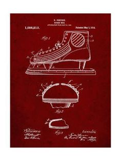 ff3155d729dc Giclee Print  PP169- Burgundy Hockey Skate Patent Poster by Cole Borders    24x18in Hockey