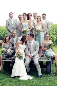 Mint green for bridesmaids, grey for groom and groomsmen