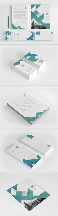 Cool Modern Triangles Stationery. Download here: http://graphicriver.net/item/cool-modern-triangles-stationery/11381460?ref=abradesign #stationery #design #branding