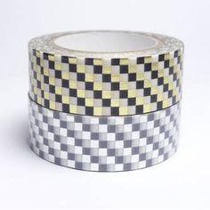 Masking tape damier métallisé or / argent