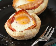 Bacon and Cheese Egg McMuffin Cups... - Picky Palate - will try with egg whites only.