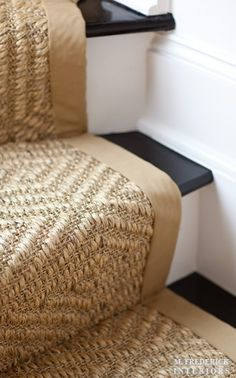 Sisal runner, black steps, white risers.