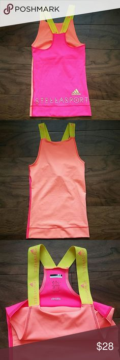 NWOT Stella McCartney Stella Sport XS Adidas Top Brand New without tags, never worn, salmon and bright pink Stella McCartney STELLA SPORT for ADIDAS XS Climalite top. Absolutely gorgeous with bright colors but too small for me. Stella McCartney Tops Tank Tops