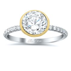 Bezel Set Diamond Engagement Ring with Pave Diamond Band - click to enlarge