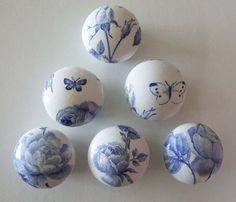 Blue Rose and Butterfly Decoupaged Drawer knobs pulls handles. via Etsy.
