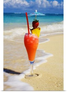 Poster Print Wall Art Print entitled A tropical cocktail on the beach, wave washing on the sand., None