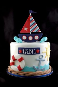 Nautical Birthday or Baby Shower Cake Nautical Birthday Cakes, 1st Birthday Cakes, Nautical Party, Nautical Cake Smash, Baby Boy Birthday Cake, Birthday Ideas, Birthday Parties, Sailor Cake, Sailor Birthday