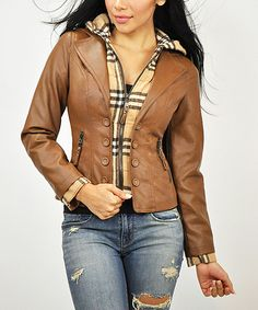 Look what I found on #zulily! Brown & Tan Plaid Faux Leather Hooded Jacket by Elegant #zulilyfinds