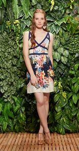 Vestido Recorte Hibisco Tropical
