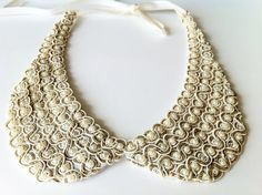 Ivory Collar Necklace Ivory Pearl Embroidery by SHECHICEXCLUSIVE, $21.90