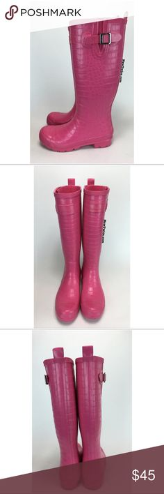 Joules pink Croc tall rainboot Good condition. Croc embossed design. Lightly worn. A few signs of wear.📦Our goal is to offer you the best prices & we do that by not spending extra money on tissue paper & love notes. We package items in a way to get them to you safely. Please consider our efforts before rating us down for packaging Joules Shoes Winter & Rain Boots