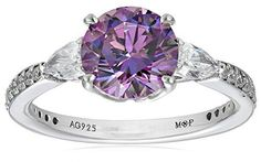 Myia Passiello Essentials Swarovski Zirconia Three Stone Fancy Purple Ring