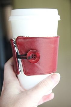 Red leather coffee cup sleeve - this is my new favorite.