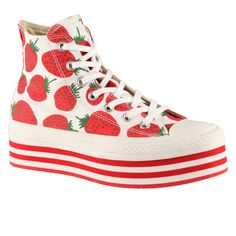 Jalaneeli - Strawberry Print HIgh Top Flatforms ($75.00 CDN) at Little Burgundy