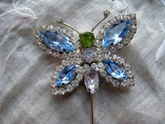 Vintage Butterfly Stick Pin Blue Green and by kellyrosevintage, $18.00