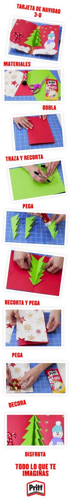¡Haz de tus tarjetas navideñas en 3D un detalle único! Te enseñamos a hacerlas paso a paso en la siguiente liga: www.prittworld.com #Manualidad #Navidad #TarjetaDeNavidad #3D #IdeasNavidad #Navidad #Maestros #Niños #DYS #Craft #Christmas #Teacher #Children #ChristmasTree #Pritt