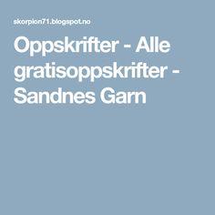 Oppskrifter - Alle gratisoppskrifter - Sandnes Garn Knitting, Tricot, Breien, Stricken, Weaving, Knits, Crocheting, Yarns, Knitting Stitches