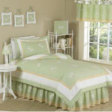 JoJo Designs Green Dragonfly Dreams - Kids Bedding 4 Piece Twin Set