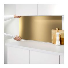 LYSEKIL Wall panel Double sided brass-colour/stainless steel colour x 55 cm - IKEA Brass Kitchen, Ikea Kitchen, Kitchen Backsplash, Kitchen Countertops, Kitchen Interior, Easy Backsplash, Deco Design, Küchen Design, Modern Kitchen Design