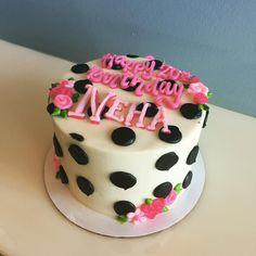 Black and white Polka dotted birthday cake! #atxbakery #atxcakes