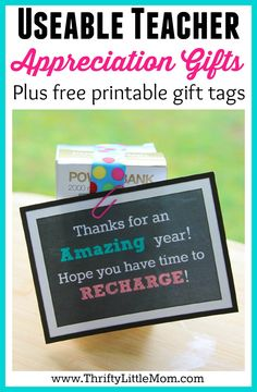Useable Teacher Appreciation Gifts.  Looking for a $5 to $10 gift for your child's teacher with a free printable cute gift label?  Check out these useable and sweet gift ideas your teacher will be talking about!