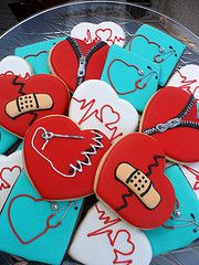 Hearts but not Valentines. Heart Cookies, Cute Cookies, Sugar Cookies, Frosted Cookies, Iced Cookies, Decorated Cookies, Medical Party, Nurse Party, Cakepops