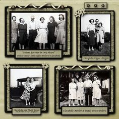 My Mother's Life in a Book, pg. 2...this simple old-fashioned scrapbook design lets you place multiple photos without looking too crowded. Lovely use of ribbon framing.