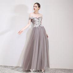 878fbdf694 Piękne Szary Sukienki Wieczorowe 2019 Princessa Przy Ramieniu Z Koronki  Kwiat Aplikacje Kótkie Rękawy Bez Pleców Długie Sukienki Wizytowe