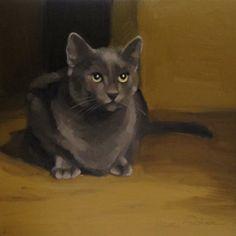 """Onward painting of gray cat looking up"" - Original Fine Art for Sale - © Diane Hoeptner"