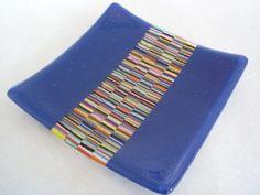 Mini Stripes Indigo Blue Glass Dish