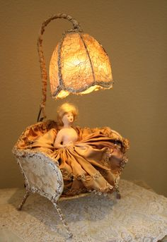 Unbelievable! 1920s French Half Doll Lamp/ Settee-