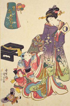 香蝶楼国貞(歌川国貞)「豊歳五節句遊」 正月 Oriental, Early Modern Period, Japanese Textiles, Japan Art, Woodblock Print, Middle Ages, Traditional Art, Impressionism, Disney Characters