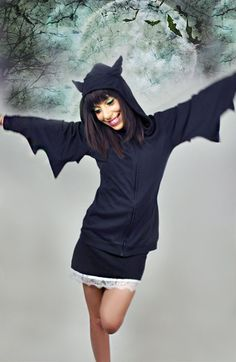 Don't wear this to lunch. Wear this to the yoga studio. You will cause deep cool factor jealousy. BAT Hoodie Jacket. $56.00, via Etsy.